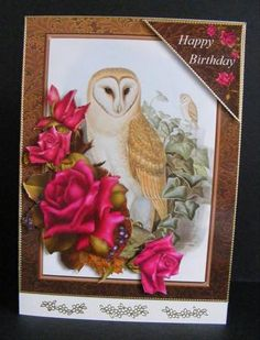 Owl and Roses Two Card Topper And Decoupage on Craftsuprint designed by Barbara Hiebert - made by Diana Holmes - Printed onto glossy photo paper and cut out all the pieces (nice and easy as there are no fiddly bits), I attached the main image to a C5 card using DST and added the other layers with 2mm foam pads and finished off with gold peel offs.This is a lovely design suitable for various different occasions. - Now available for download!