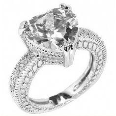 Unique Heart Shaped Engagement Rings | heart shaped engagement rings-5.50ct Antique Heart Shaped Engagement ...