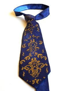 Clearance Sale Gift for MEN'S hand painted men necktie Royal blue Golden vintage ornament Redy to ship FREE SHIPPING