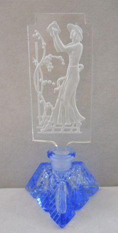 Vintage Czech Tambourine Lady Figural Perfume Bottle
