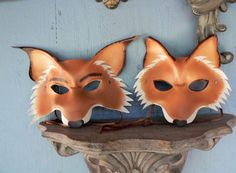 Mr and Mrs fox masks leather masks for two couple by faerywhere, $125.00