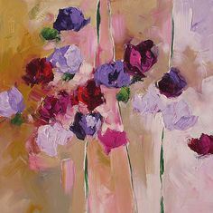 Flower Painting Original Abstract Art by lindamonfort on Etsy