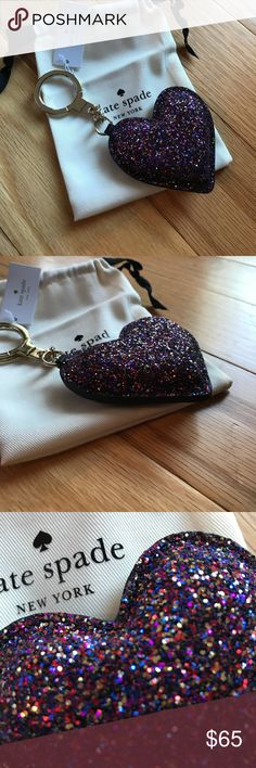🎀NEW🎀KATE SPADE Puffy Heart Glitter Key Fob 🎀KATE SPADE🎀 Puffy Heart Glitter Key Fob. Perfect holiday gift. 14karat gold plated hardware. Comes with jewelry bag❌no trading or holding kate spade Accessories Key & Card Holders
