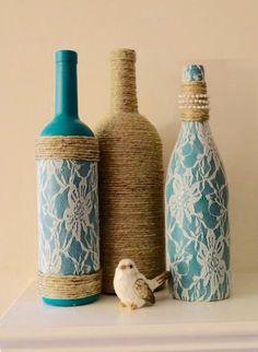 más y más manualidades: 6 originales técnicas para decorar con botellas de vidrio                                                                                                                                                                                 Más