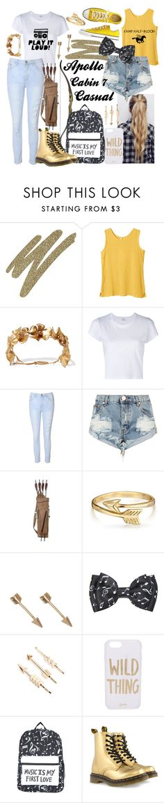 """""""Apollo cabin 7 casual"""" by squidney12 ❤ liked on Polyvore featuring Too Faced Cosmetics, Jennifer Behr, RE/DONE, Glamorous, OneTeaspoon, Martin Archery, Converse, Bling Jewelry, Music Notes and Natasha Accessories"""