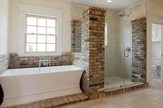 brick around the tub and shower