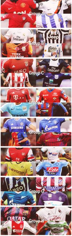 The 2013/14 UEFA Champions League Groups. World Football, Football Soccer, Football Shirts, Soccer Jerseys, Soccer Scores, Football Fever, European Cup, Sports Graphics, European Football