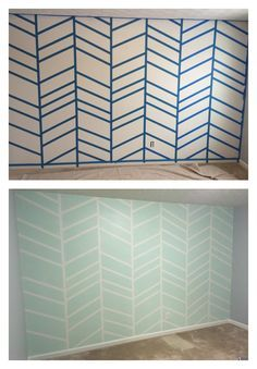 Gender neutral nursery feature wall... Sherwin Williams.. Grey is Grey Screen, White is Pure white and mint is Green Trance
