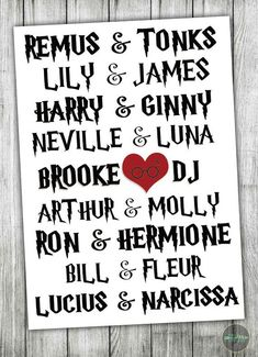 Add some decorative flare to your wedding day or bridal shower with this custom his and hers Harry Potter print! Find more prints, invites and more at Peace Love Prints Co. on Etsy.com.