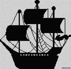 ship silhouette #crossstitch #monochrome