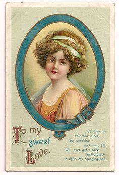 Ellen Clapsaddle  Beautiful Woman to my sweet Love Valentine Postcard Series 1216