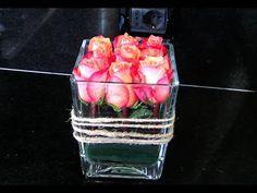 Un Arreglo Floral con 9 rosas: San Valentin. How to make a floral arrang...