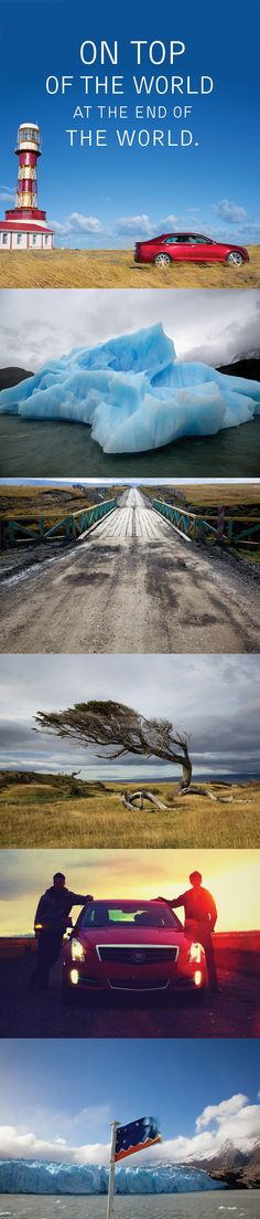 The Cadillac ATS battles the fierce winds of Patagonia. Cadillac Ats, Sports Sedan, Top Of The World, Patagonia, Battle, Entertaining, Spaces, Cool Stuff, Travel
