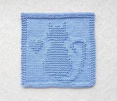 (6) Name: 'Knitting : Cat & Heart Knit Dishcloth / Wash Cloth