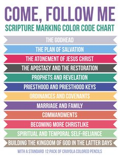 Come, Follow Me: Scripture Marking Color Code System - She gives a couple options (24 pack of Crayola Crayons or, as pictured, a 12-pack of Crayola colored pencils)