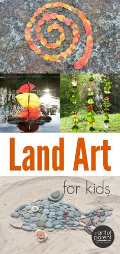 Land art for kids combines playing and creating art in a natural environment using leaves, rocks, sticks, and other nature items as well as light and water.