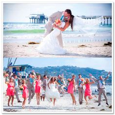 Coral and Turquoise Wedding. This is good for the guys refusing pink! I would love to have a beach wedding!