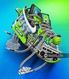 Custom works for NikeChristopher DeGaetano - Art DirectorJeff Wertz - Studio DirectorMarcelo Schultz - Illustratorwww.nike.com