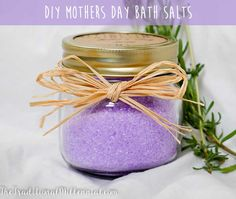 Find out the easiest way to make some cute DIY bath salts in jars for Mothers Day! All you need: half-pint jars, liquid food coloring, and essential oils!