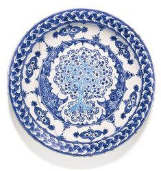 An exceptional Iznik blue and white pottery dish, Turkey, circa 1520