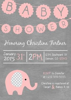 Baby Girl Shower Invitation Download Elephant by CreativeClouds05