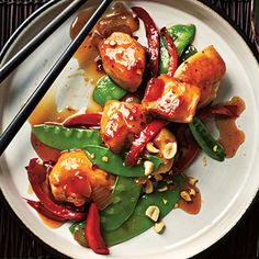 Kung Pao Chicken    Cut calories and sodium by making this takeout favorite at home. This recipe delivers authentic flavor in less than 30 minutes.