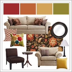 """Hello there my colors! These are the same colors I'm doing my house in right now, except the yellow room is going to be just s bit bolder and more """"yellow"""" than this. Green in living room, Burnt orange in bedroom, yellow in playroom and the piano is going red! :)"""