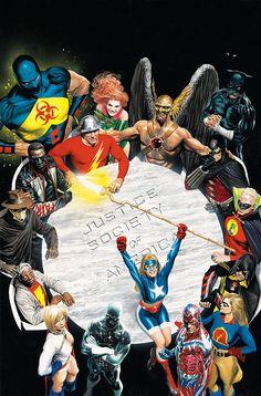 Justice Society of America, by Alex Ross. Alex Ross is awesome. Justice Society Of America, Alex Ross, Comic Book Covers, Comic Books Art, Comic Art, Arte Dc Comics, Memes Marvel, Marvel Vs, Captain Marvel