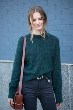 @roressclothes closet ideas #women fashion outfit #clothing style apparel knit Green Sweater