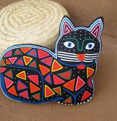 Exquisite Mola Cat Pillow  Hand Sewn Reverse Applique by molamama, $66.50