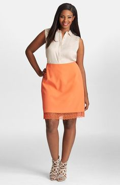 Mynt+1792+Lace+Peekaboo+Hem+Skirt+(Plus+Size)+available+at+#Nordstrom