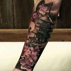 Tatuajes japoneses: Fotos de diseños - Tatuaje de templo y flores de cerezo