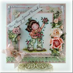 Magnolia stamps - Rosegarden Tilda colored with Distress Markers.
