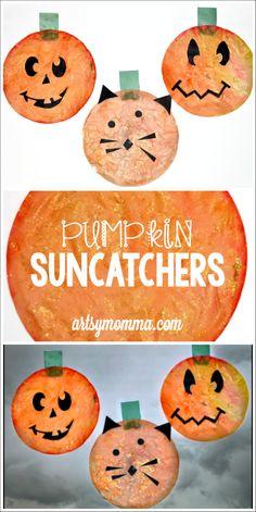 Kids Halloween Craft: Pumpkin Suncatchers