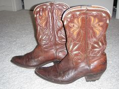 Vintage ACME Mens 1950's Brown Overlay Leather Cowboy Boots 9.5 D #ACME #CowboyWestern