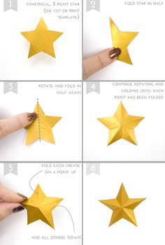 Perfect for Christmas crafting, these are quick and easy to make in just a few simple steps! All you need to start is a symetrical 5 point star which can either be die cut or cut from a printed template (there are plenty on Goggle to pick from). Paper Crafts Origami, Paper Flowers Craft, Diy Paper, Paper Crafting, Origami Flowers, Handmade Christmas Decorations, Christmas Crafts For Kids, Holiday Crafts, Christmas Diy