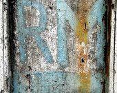 Fine art print photography : French graffiti on blue door, France.