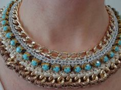 crochet necklace with gold chain in turquoise and by nelacreates