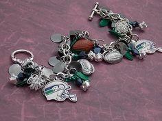 Seattle Seahawks charm bracelet with green by ForeverCharmingLLC, $37.99