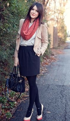 cute. i like the dark tights with the nude shoes.