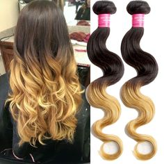Malaysian Pop 100g/pc Body Wave 2 Tone Ombre Real Human Hair Extensions Fashion #WIGISS #bodywave