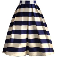 Chicwish Marine Blue Striped Midi Skirt (£25) ❤ liked on Polyvore featuring skirts, blue, stripe midi skirt, midi skirt, blue slip, striped skirt and flare skirt