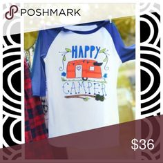 """🆕""""Happy camper"""" 3/4 sleeve baseball shirt🏕 It's summer time so who's camping???? This super fun baseball shirt is made of a soft cotton-polyester blend and is lightweight and breathable. It has a standard scoop neck and 3/4 length blue sleeves. Fun for anyone who's ready to head out into nature. Tops"""