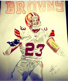 Joe Haden Cleveland Browns Drawing with his Autograph