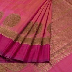 Handwoven Pink Banarasi Kadhwa Tussar Silk Saree With Floral Butis 10013350 - AVISHYA.COM