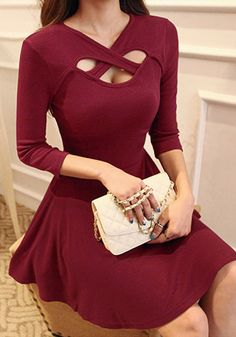Red 3 Keyhole Dress - Crop Sleeve Dress