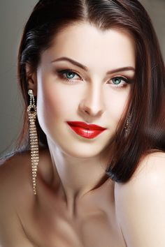 Face woman close up portrait red lips perfect make up Beauty style
