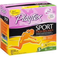Playtex Sport Fresh Balance Multi Pack Tampons, 32 CT (Pack of 6)