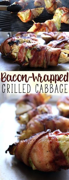 Grilled Bacon Wrapped Cabbage.  Easy and delicious, this will be your new favorite bacon recipe.   #bacon #easyrecipe