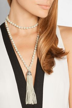 Kenneth Jay Lane's long faux pearl necklace